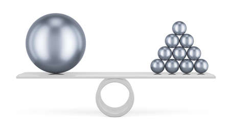 Balance concept with steel balls, 3D rendering isolated on white background