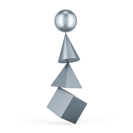 Balance concept from cube, cone, pyramid and sphere. 3D rendering isolated on white background Banco de Imagens