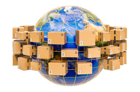 Global shipping and delivery concept, parcels with Earth Globe around. 3D rendering isolated on white background Stockfoto