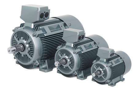 Set of industrial electric motors, 3D rendering isolated on white background
