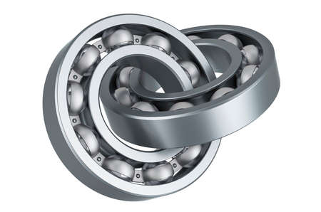 Ball-bearings crossed, 3D rendering isolated on white background