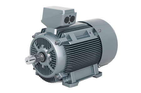 Industrial electric motor, 3D rendering isolated on white background Banco de Imagens