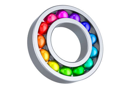 Ball bearing with colored balls inside. 3D rendering isolated on white background