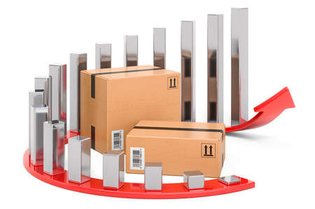 Parcel with growing chart and red arrow. 3D rendering isolated on white background