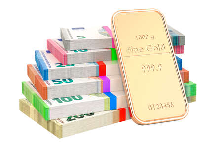 Euro packs with gold ingot, 3D rendering isolated on white background