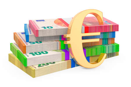 Euro packs with euro symbol, 3D rendering isolated on white background Stock fotó