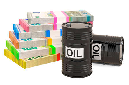 Oil barrels with euro packs, 3D rendering isolated on white background