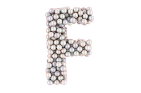 Letter F from white pearls, 3D rendering isolated on white background Stock fotó