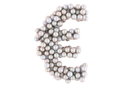 Euro symbol from white pearls, 3D rendering isolated on white background Stock fotó