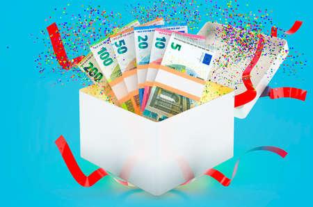 Euro packs inside gift box inside gift box, 3D rendering on blue background