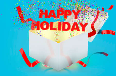 Happy Holiday text inside gift box. 3D rendering on blue background