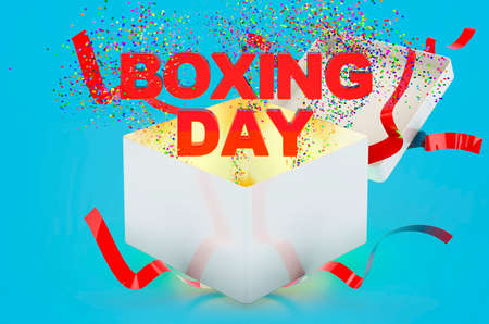 Boxing Day text inside gift box. 3D rendering on blue background