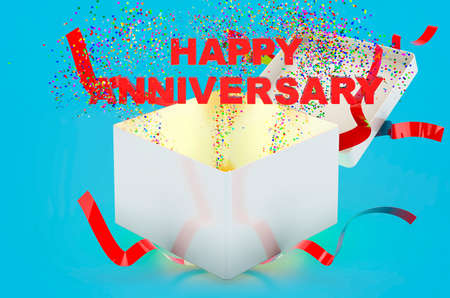 Happy Anniversary text inside gift box. 3D rendering on blue background