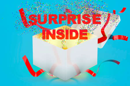 Surprise text inside gift box. 3D rendering on blue background 版權商用圖片