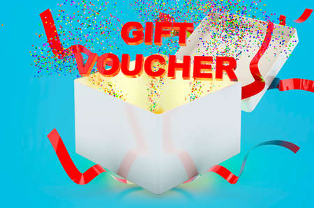 Gift Voucher concept, text inside gift box. 3D rendering on blue background