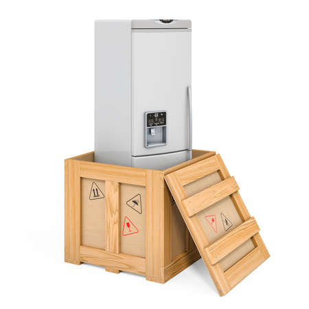Refrigerator inside wooden box, delivery concept. 3D rendering isolated on white background 版權商用圖片