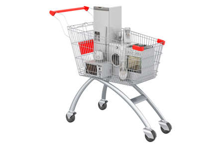 Shopping cart full of kitchen appliances, 3D rendering isolated on white backgrou