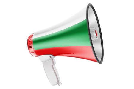 Megaphone with Bulgarian flag, 3D rendering isolated on white background