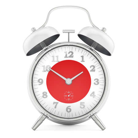 Alarm clock with flag of Japan, 3D rendering isolated on white background