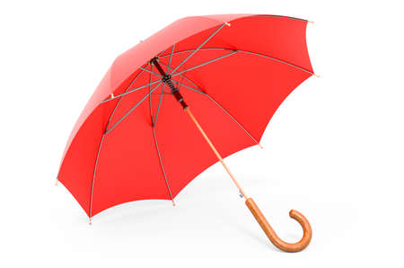 Red umbrella, 3D rendering isolated on white background Banco de Imagens