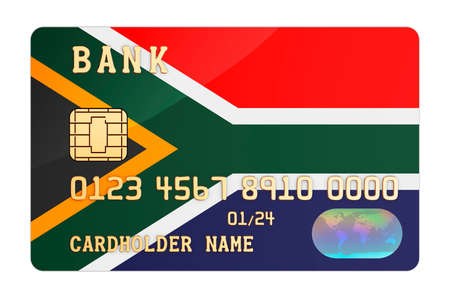 Bank credit card featuring South African flag. National banking system in South Africa concept. 3D rendering isolated on white background Stock Photo