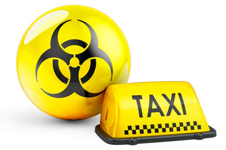 Yellow taxi car signboard with biohazard sign flag, 3D rendering isolated on white background Stockfoto