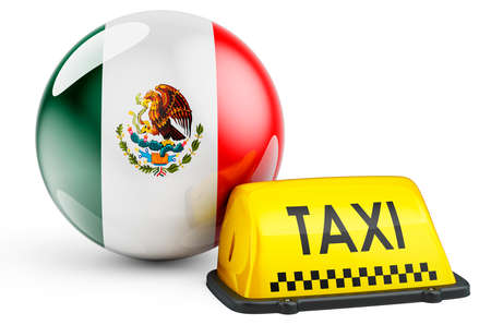 Taxi service in Mexico concept. Yellow taxi car signboard with Mexican flag, 3D rendering isolated on white background Foto de archivo