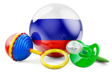 Birth rate and parenting in Russia concept. Baby pacifier and baby rattle with Russian flag, 3D rendering isolated on white background Banque d'images