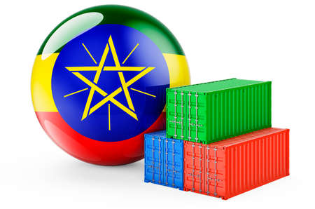 Cargo containers with Ethiopian flag. Freight shipping in Ethiopia, 3D rendering isolated on white background