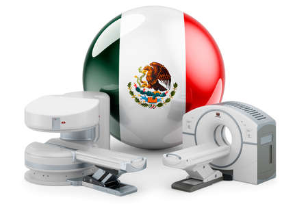 MRI and CT Diagnostic, Research Centers in Mexico. MRI machine and CT scanner with Mexican flag, 3D rendering isolated on white background