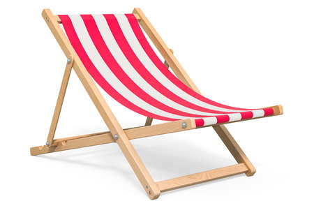 Deckchair with red and white stripe pattern, 3D rendering isolated on white background