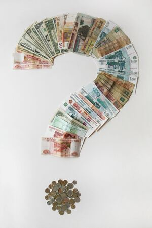 roubles: pile of the money,  dollars, euro, roubles, Coins, banknotes, Money, Question sign Stock Photo