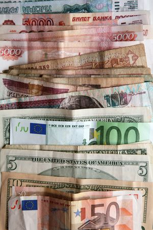 roubles: pile of the money,  dollars, euro, roubles, banknotes, Money,