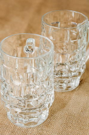 draughts: empty glass glasses for beer