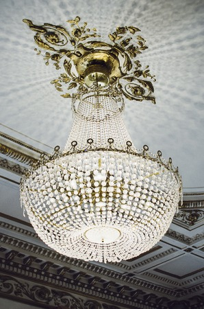Large crystal chandelier hanging from the ceiling
