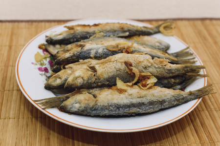 Fried fish on plate Stock Photo