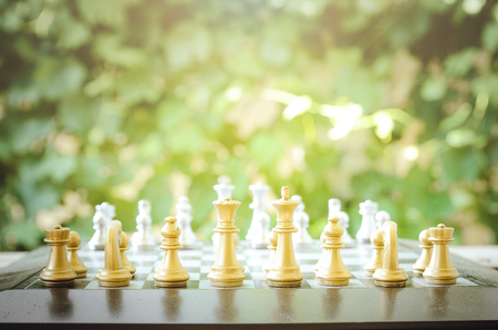 battle plan: Chess. Board game. Chess tournament. Stock Photo