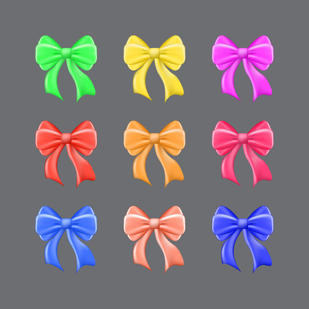 Set of multi-colored festive bows on a gray background. Vector illustration. Eps 10 Illustration