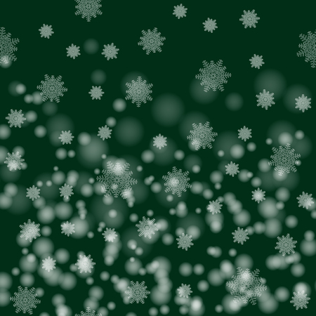 Beautiful Christmas image . White snow flakes on a green background. New Year`s vector illustration. Banco de Imagens - 91003080
