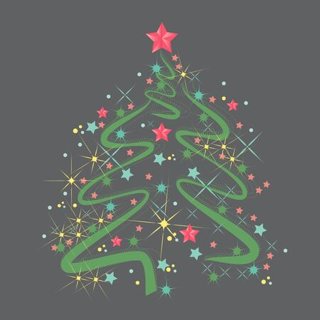 Christmas tree in an abstract style on a gray neutral background. EPS 10. Stock Illustratie