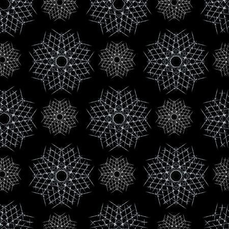 Vector Seamless Winter Pattern Background with White Snowflakes on Black Background. Can be used for textile, parer, scrapbooking, wrapping, web and print design.
