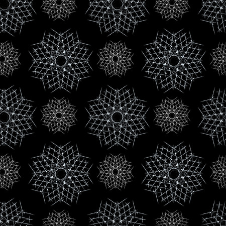 Seamless Winter Pattern Background with White Snowflakes on Black Background. Can be used for textile, parer, scrapbooking, wrapping, web and print design.