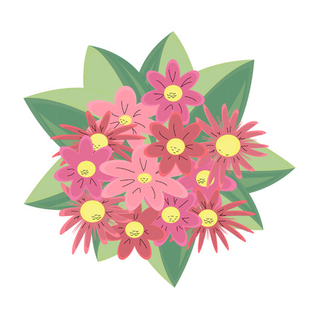 A beautiful pattern with flowers in flat cartoon style. Vector traditional floral bouquet. Great for fashion, cards, invitations; a retro ornament Illustration
