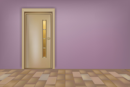 Brown wooden door with glass on lilac wall, concept of modern interior.