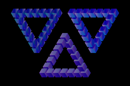 Penrose Triangle with a variety of nuances . Vector illustration