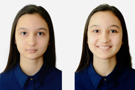 Photo of a teenage girl face on a white background on documents. Collage for comparison. Stock Photo