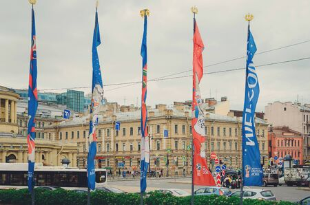 Saint Petersburg, RUSSIA - July 08, 2018: Flags of FIFA World Cup in Russia Flattering in the Wind. Football World Cup Russia 2018 Symbols, Welcoming International Fans and Tourists to Russian Host Ci 에디토리얼