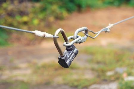 Closed lock. Close-up, selective focus. Stock Photo