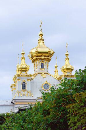 Saint Petersburg, RUSSIA - July 11, 2018: Peterhof Temple in St. Petersburg. Close-up. Redakční
