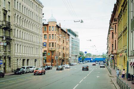 Saint Petersburg, RUSSIA - July 08, 2018: Cars drive on Nevsky Prospect in St. Petersburg. Redakční